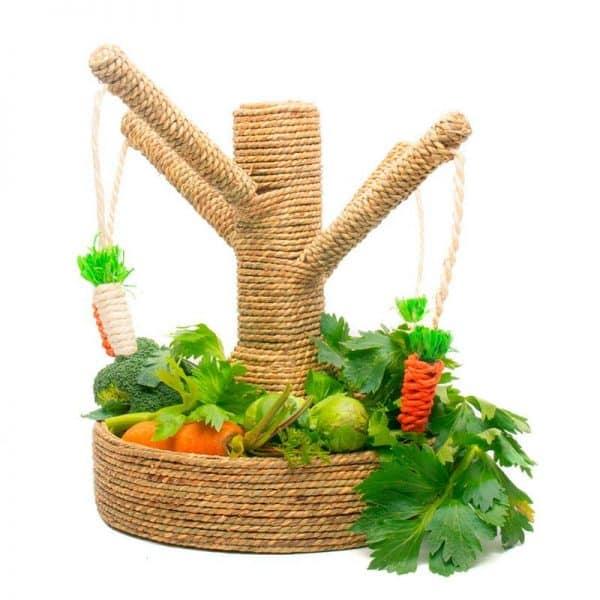 Arbre à lapin   Arbre à carottes avec mangeoire à foin Mon Lapin Nain 5