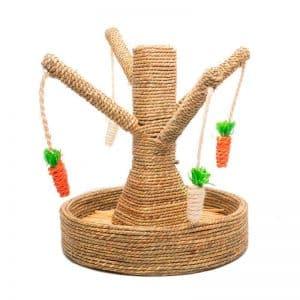 Arbre à lapin | Arbre à carottes avec mangeoire à foin Mon Lapin Nain 2